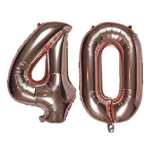 DIWULI, XXL aantal ballonnen, nummer 40, roségouden ballonnen, aantal ballonnen roségoud, folieballonnen, folieballonnen voor 40e verjaardag, bruiloft, feest, decoratie, geschenkdecoratie