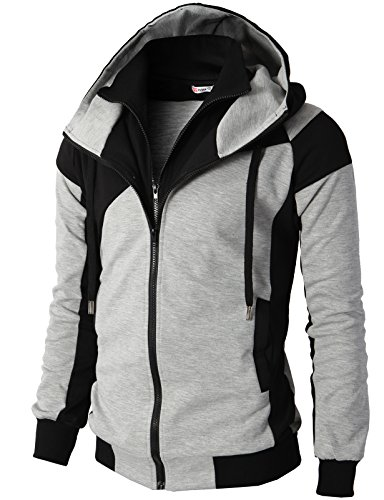 H2H Mens Hoodie Zip-Up Double Zipper Closer with Two Tone Color Gray US L/Asia XL (KMOHOL076)