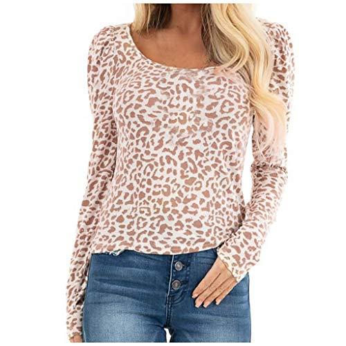 Mujer Tops, Moda Mujeres O-cuello Leopard Print mangas largas Pullover Blusas Tops, para Halloween Día Venta...