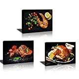 Kitchen Wall Decor Dining Room Decor Farmhouse Kitchen Decor Black Wall Art Restaurant Food Pictures Kitchen Wall Art Roasted Chicken Steak Fish Canvas Print Rustic Kitchen Decorations Theme Sets