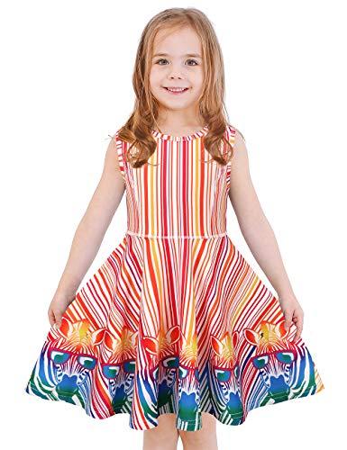 LaBeca Girls Stripe Printed Casual Party Twirly Sleeveless Dress Zebra M