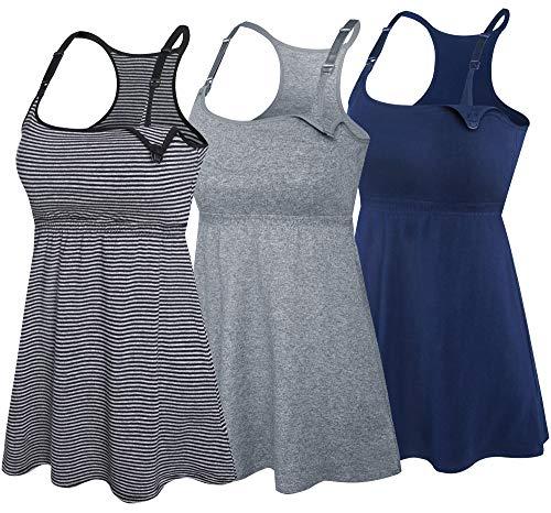SUIEK 3PACK Racerback Nursing Tops Tank Cami Maternity Bra Breastfeeding Sleep Shirt (Medium, Navy+Charcoal+Stripe 3Pack)