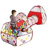 YWQZ 3 in 1 spielzelte Tunnel mit 100 Ball - Robustes Pop-Up-Spielhauszelt für Jungen, Mädchen,...