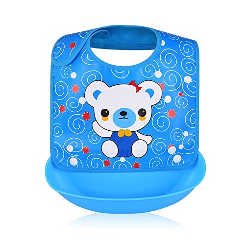 Waterproof Baby Bibs with Snaps and Removable Silicone Food Catcher Unisex for Boys and Girls by KOSTA (Blue with Panda)