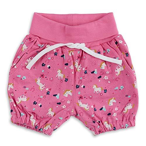 Sigikid Baby-Mädchen Shorts aus Bio-Baumwolle für Kinder Bermudas, Rosa/Caballos, 62 cm Bebé-Niñas