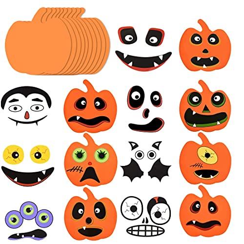 Sprinlot Manualidades Halloween,16 Piezas Kit Decoración de Calabaza de Halloween, Kit de Artesanía de Calabaza de Espuma de Halloween, Decoracion Halloween Niños