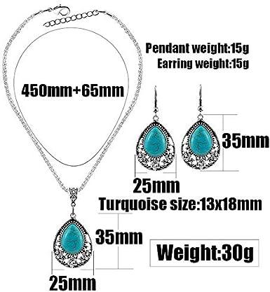 Nurbo 1 X Fashion Womens Retro Turquoise Rhinestone Earrings Necklace Jewelry Set