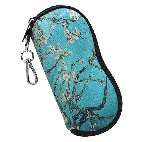 Fintie Brillenetui - [Ultraleicht] Neopren Reißverschluss Sonnenbrille Tasche Kratzfest staubsichere Brillenbox mit Gürtelclip für Schlüssel, Bleistifte, Karten - Mandelblüten