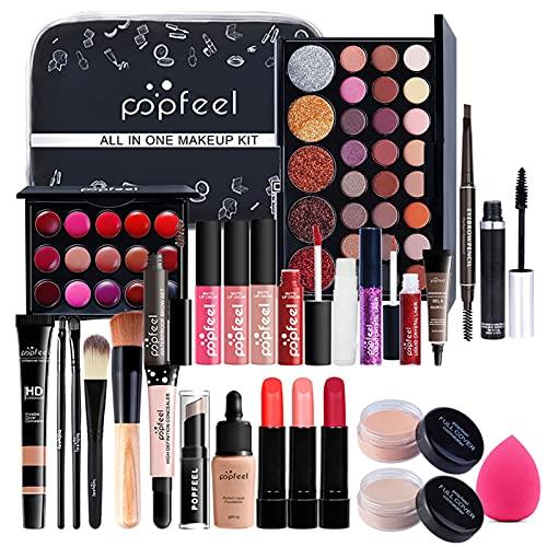 26 piezas Kits de Maquillaje, Set de Cosméticos Todo en Uno, Set de Regalo de Maquillaje Kit de Inicio Completo con Sombras de Ojos, lápiz Labial, Kit de Cosméticos para Niñas Mujeres