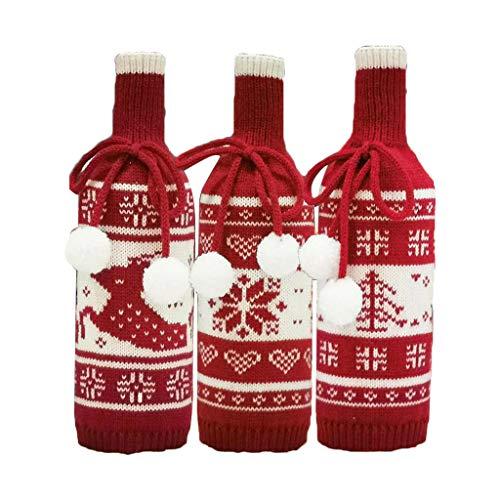 WOWOWO 3 unids/Set Navidad champán Botella de Vino Tinto Cubierta Bolsa Alce Copo de Nieve decoración de Mesa