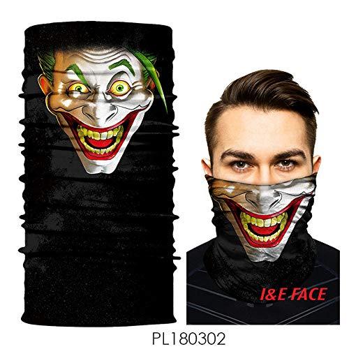 CNstory Joker Hip-Hop Divertido a Prueba de Polvo Corriendo Cara Toalla Masculina Babero Delgada máscara de protección Solar Collar de Pesca de Cara Completa
