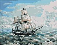 DIY数字油絵 塗り絵キット パズル油絵 帆船 デジタル油絵 手塗り 数字キットによる絵画 絵かき インテリア 壁飾り ホームデコレーション 40x50cm(額縁なし)