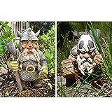 Wikinger Victor Norse Zwerg Gnom Statue-Wikinger Garten Gnom Farbige Dekoration, Outdoor Gnom Harz Figur Für Indoor Outdoor Home Yard Dekor (A&B)