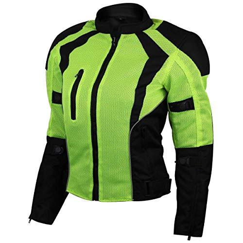 Ladies Hi-Vis Mesh Motorcycle Jacket with CE Armor - M