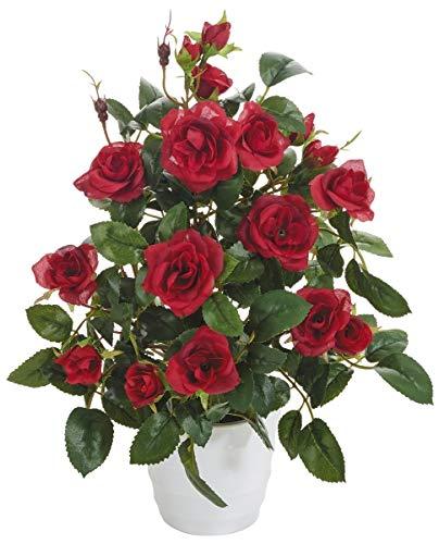 mucplants Künstlicher Rosenstrauch rot 34cm im weißen Dekotopf Kunstblume Kunstpflanze Rose