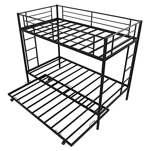 Merax Metal Bunk Bed with Trundle, Twin Over Twin Bunk Bed with 2 Side Ladders, Safety Guard Rails for Kids Teens Adults No Box Spring Required, Black