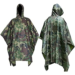 90 Points Multifunction Military Camouflage Rain Coat,Waterproof Ripstop Rain Poncho, PVC and Nylon,1 Pack (camouflage2):Wenstyle