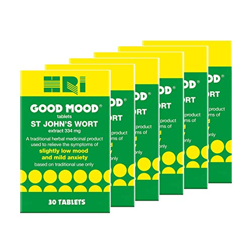 HRI Good Mood. St John's Wort 344 Milligrams Tablets. to Relieve The Symptoms of Slightly Low Mood and Mild Anxiety Relief. 6 Packs - 180 Tablets