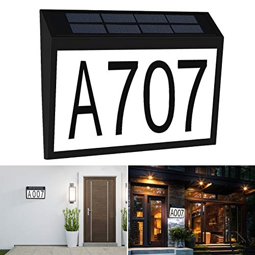 Aflifli Solar House Number Light Waterproof, Wall Mount Address Numbers Sign, Auto on/Off & Customized Letter and Numbers for Door Fence