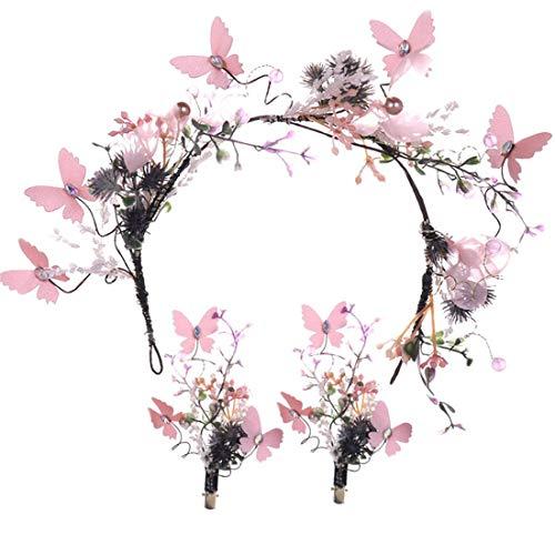 MIMIOOORE Bijoux de mariée Fleur Rose Cheveux Bande Set Mori Girl Flower Garland (Color : Pink)