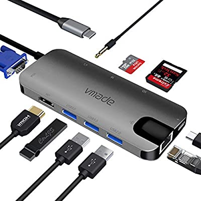 USB C hub,10-in-1 Vmade Type C Hub Adapter,with 4K HDMI, VGA, Ethernet ports, 2 USB 3.0, 1 USB 2.0, ,100W USB C PD charging, SD/TF docking station, suitable for Windows and Mac devices,usb c dock