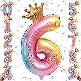 Ousuga Ballon de numéro de Feuille d'hélium, Ballons de numéro de dégradé Arc-en-Ciel de 32 Pouces avec Couronne pour Anniversaire, décorations de fête d'anniversaire (# 6)