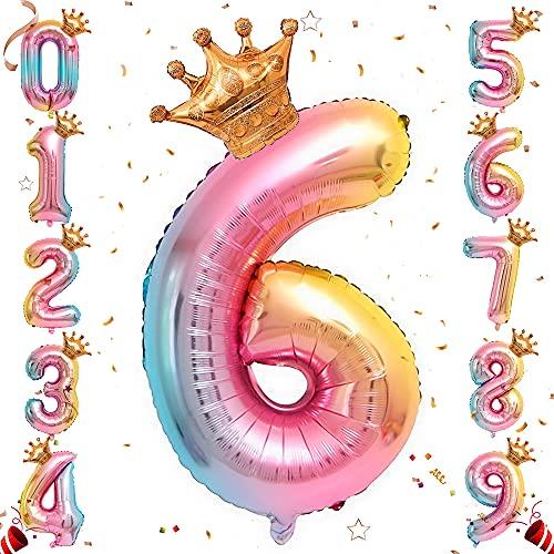 Ousuga Globo Numérico 6, XXL gigante Degradado Con Purpurina Foil Globo Número con corona, para decoraciones de suministros de aniversario de fiesta de cumpleaños de princesa (#6)