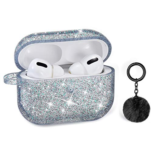 Airpods Pro Case, DMMG Airpods Case Cover Silicone Skin, AirPods Protective Cute Bling Glitter Case with Fluff Ball Keychain, Scratch Proof and Drop Proof for Apple Airpods Pro(Black)