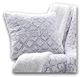 "DaDa Bedding Soft Faux Fur Euro Pillow Sham - Fluffy Luxury Dreamy Milky Way Cloud White - Decorative Cushion Cases Super Soft Warm Plush - 26"" x 26"" - 1-Piece"