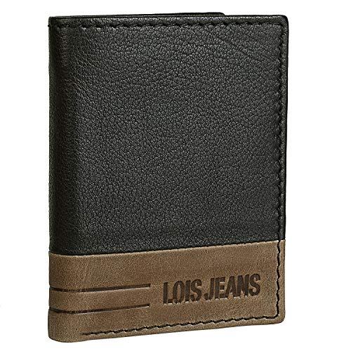Lois - Leren portemonnee Leer voor heren verticaal. Munthouder portemonnee. RFID-bescherming Geschenkdoos Dagelijks gebruik Kwaliteit Retro vintage stijl. Bicolor 202418, Color Zwartbruin