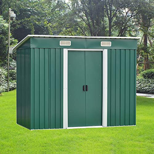 8FT X 4FT Metal Garden Shed Utility Tool Storage, Pent Roof Outdoor House for Backyard and Garden (Green)