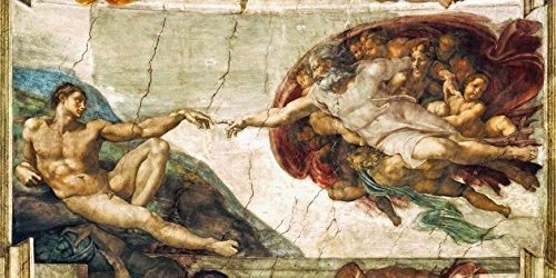 Legendarte Schilderij van Michelangelo Buonarroti-De creatie van Adam-Digital Print op Canvas-cm. 50x100, Multi kleuren