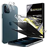 4 Pack HATOSHI 2 Pack Privacy Screen Protector + 2 Pack Camera Lens Protector Compatible with iPhone 12 Pro Max 5G 6.7 inch Tempered Glass - NOT for iPhone 12 Pro 6.1 inch, Alignment Tool Easy Installation, Black