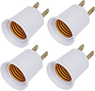(4PACK) E26/e27 Socket Adapter Converts Outlet to Lamp Socket, 660 Watt, 125 Volt,AC Plug to E26 Two Outlet Light Socket Adapter,white