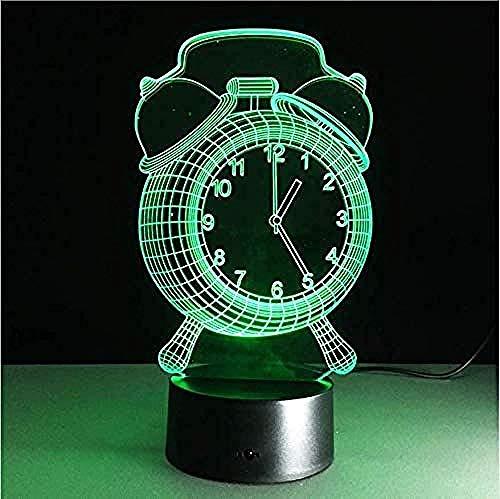 Klok 7 kleuren 3D licht creatieve touch Desk lamp sfeerverlichting LED-lampen