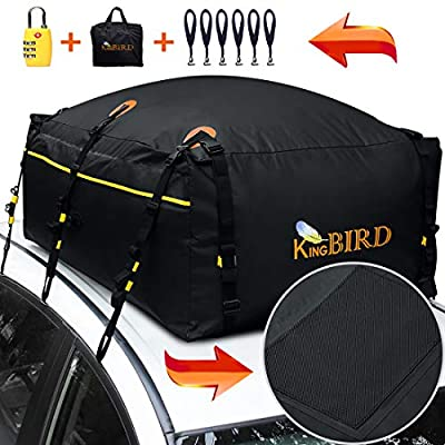 KING BIRD 100% Waterproof Roof Bag with External Non-Slip Mats, 20 Cubic Feet Heavy Duty Car Top Cargo Carrier Bag with Built-in Protective Mat Fits All Cars with/Without Rack