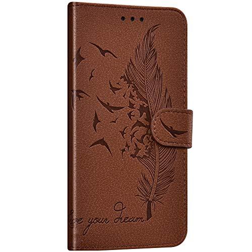 Saceebe Compatible avec Samsung Galaxy A8 2018 Coque Portefeuille Housse Cuir Etui à Rabat Plume Oiseau Rétro Motif Flip Case Fermeture Magnétique Por