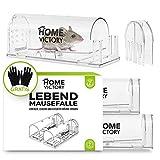 HomeVictory Mausefalle Lebend [2er Set] - Rattenfalle in Transparent - Mäusefalle Lebend mit extra robustem ABS Material - Lebendfallen Mäuse mit unauffälligem Design und GRATIS Schutzhandschuhen