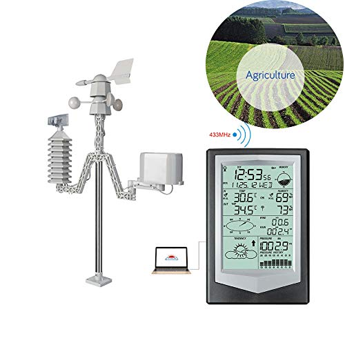 Weather Station, Meteorological Instrument, Wireless Indoor Outdoor Home Smart Weather Forecast Stations with Wind Direction Speed Rain Gauge Multiple Sensors Temperature and Humidity Meter