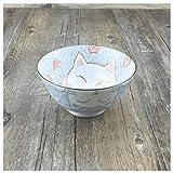 sdac Geschirr/Küche Keramikschale Teller Kreative Nette Reis Dessert Müslischale Set Pastateller Gewürz Miso Geschirr Rosa Glückliche Katze Fisch Outdoor Camping,13,2 CM * 6,8 CM BLAU