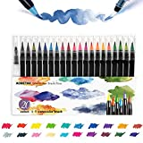 Brush Pen,AOBETAK 20 Pennarelli Acquerello + 1 Pennello Acqua,Penna Acquerelli Professionali in...