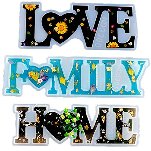 Yalulu 3pcs Love/Family/Home Resin Casting Molds, Letter Molds Word Sign Molds Silicone Epoxy Resin Casting Molds for DIY Table Home Decoration