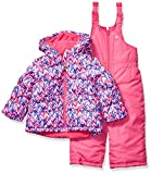 Osh Kosh Girls' Toddler Ski Jacket and Snowbib Snowsuit Outfit Set, Magenta Chevron Pink and Bright Pink, 3T
