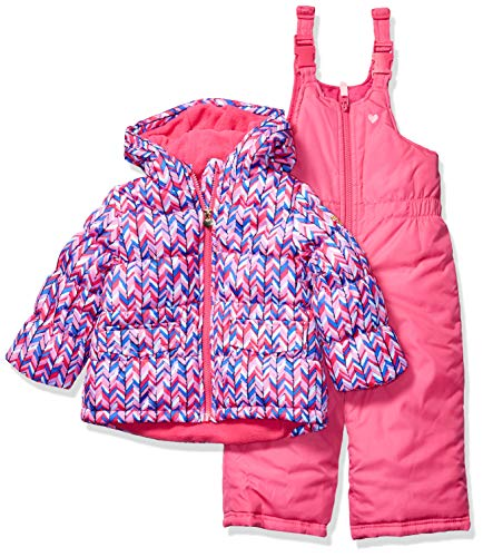 Osh Kosh Girls' Little Ski Jacket and Snowbib Snowsuit Outfit Set, Magenta Chevron Pink and Bright Pink, 5/6