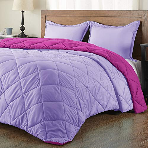 downluxe Lightweight Solid Comforter Set (Queen) with 2 Pillow Shams - 3-Piece Set - Fuchsia and Lavender - Down Alternative Reversible Comforter