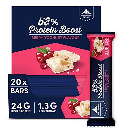 Multipower 53% Protein Boost – 20 x 45 g Protein Riegel Berry Yoghurt mit 53% hochwertigem Protein – 24 g Eiweiß und 1,6 g Zucker je Eiweißriegel
