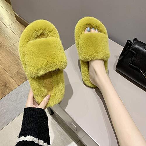 Espuma de Memoria Invierno Pantuflas,Zapatillas Exteriores, Pantuflas Interiores de algodón de Fondo Plano-Amarillo_38,Medio Paquete con Zapatillas de algodón