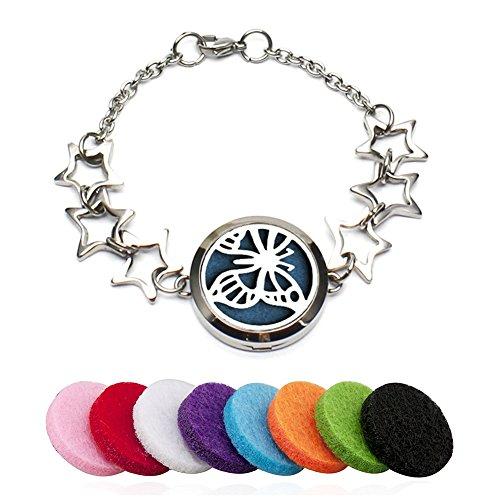 Armband Ätherisches Öl Ambänder Ätherische Öle Diffusor Armband Aromatherapie Edelstahl Armkette Durchbrochen Schmuck Mit 8 Refill Pads (Pentagramm)