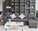 GOOD & GRACIOUS Convertible Sectional Sofa Sets with Ottoman Chaise Lounge, Modular L-Shaped Mid Century Modern Comfy Sofa Couch for Living Room Bedroom Small Space, Dark Gray, 101.25' 49.5' 31'