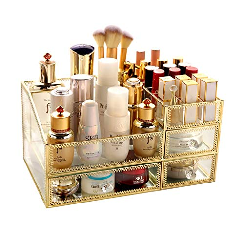 Cajón organizador de maquillaje de vidrio dorado, máscara cosmética para el cuidado de la piel Lápiz labial Organizadores y almacenamiento transparentes, Escritorio multifuncional para el acabado de c